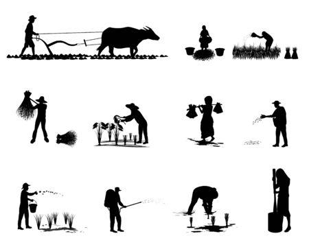 disegno vettoriale di sagoma contadino forma