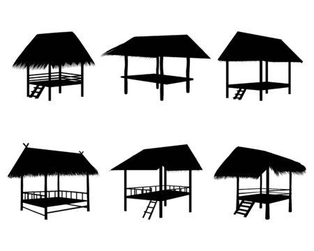 silhouette straw hut vector design Illusztráció