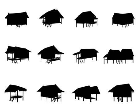 silhouette straw hut vector design Vettoriali