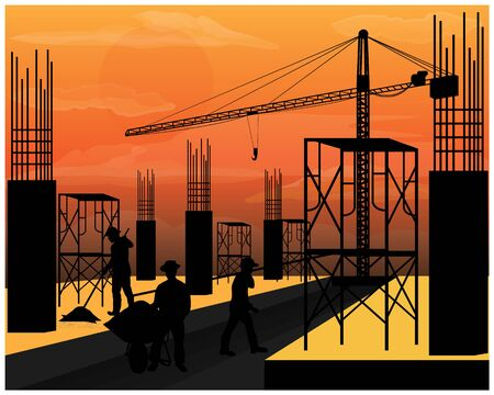 silhouette construction work vector design
