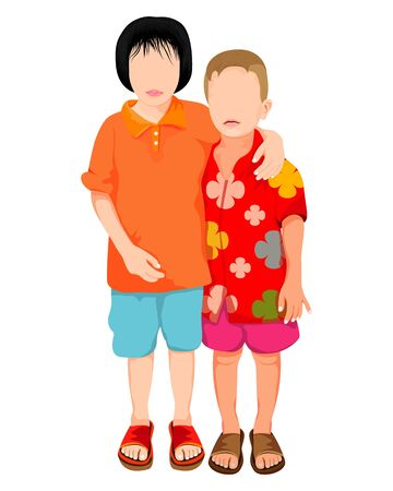 sister and young brother vector design Banco de Imagens - 130554836