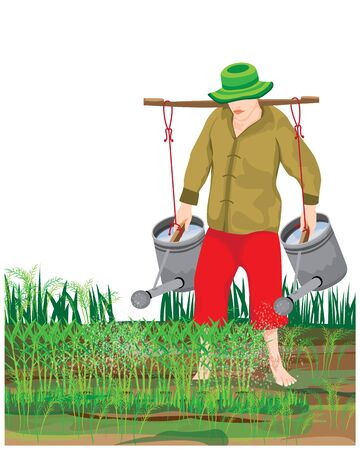 one agriculturist watering vegetable vector design Illustration