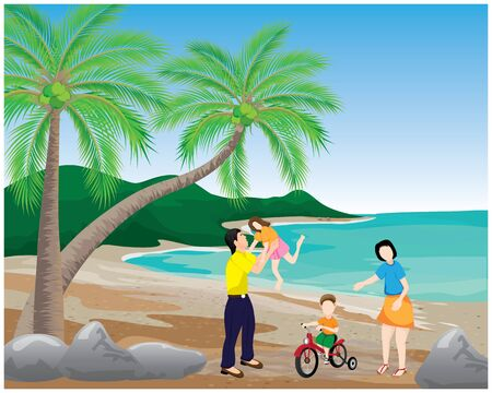 one family at the sea beach vector design