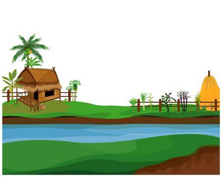 straw hut with vegetable around picket vector design