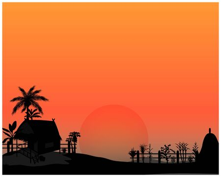 silhouette straw hut at countryside vector design  イラスト・ベクター素材