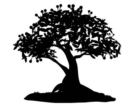 silhouette tree vector design Stockfoto - 134016401