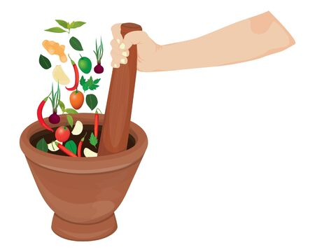 mortar with spices vector design
