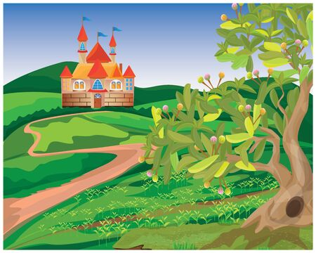castle in forest vector design