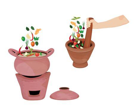 mortar with tom yam pot vector design Ilustração
