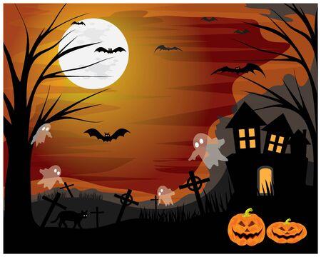 Halloween full moon day vector design  イラスト・ベクター素材