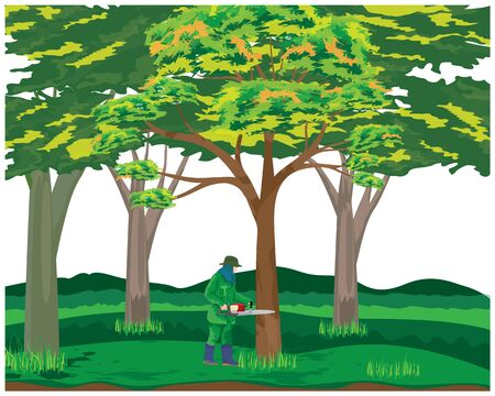 one man deforestation vector design