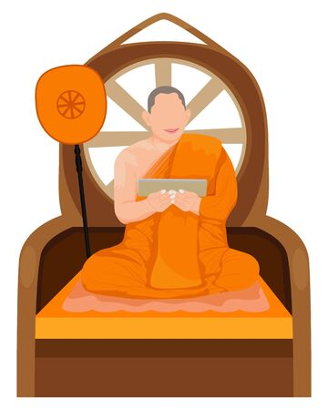 one monk in Buddhism edifing vector design