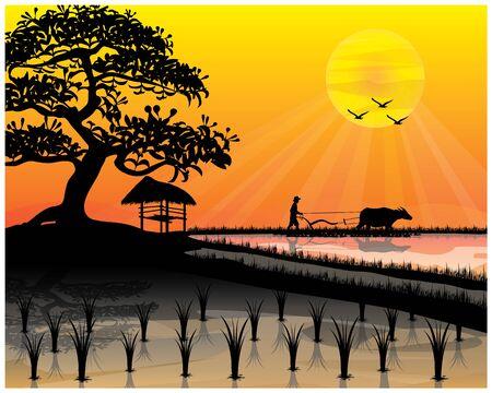 silhouette farmer plow in paddy field vector design