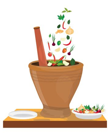 vegetable with mortar vector design