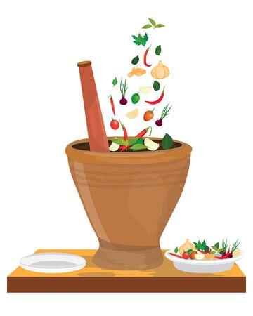 verdura con disegno vettoriale di mortaio