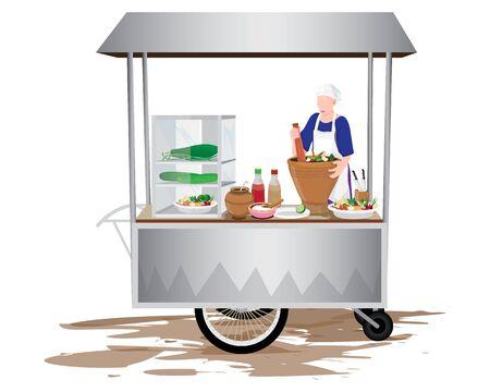 Vendor with papaya cart vector design
