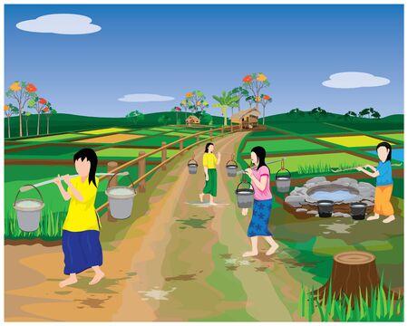 countryside girl harvest water from soil pond vector design Vector Illustratie