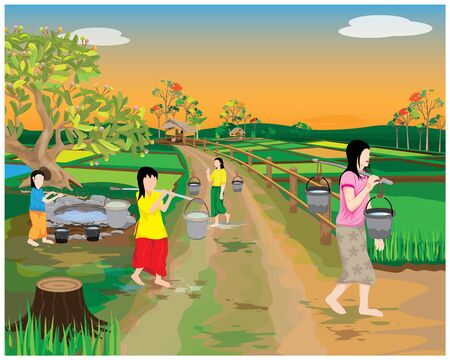 many girl harvest water from pond at countryside vector design