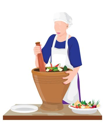 woman chef with mortar vector design