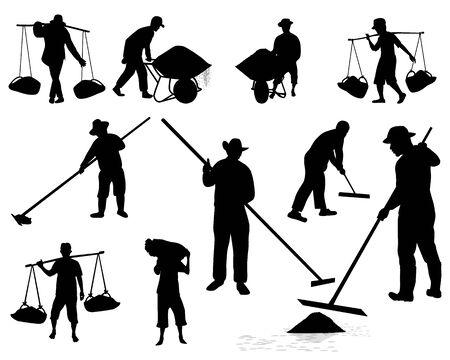 Silhouette Landwirt Cartoon-Form-Vektor-Design