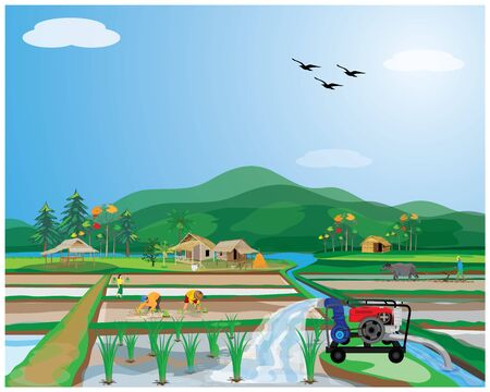 water pump with farmer vector design