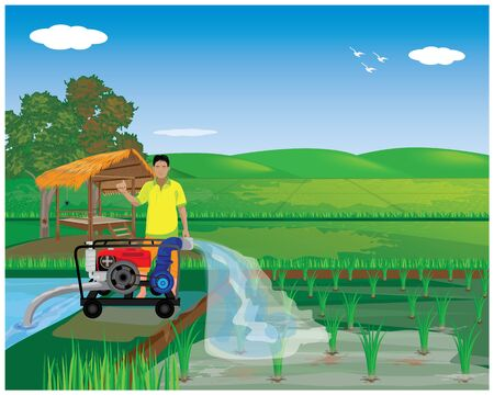 farmer with water pump at paddy field vector design