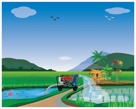 water pump at paddy field vector design