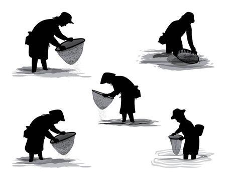 silhouette agriculturist cartoon shape vector design Illusztráció