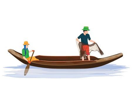 Freshwater fisherman cartoon vector design