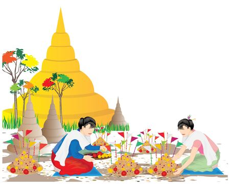 two woman with Sand pagodas vector design