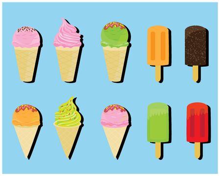 ice cream on blue background vector design Illusztráció