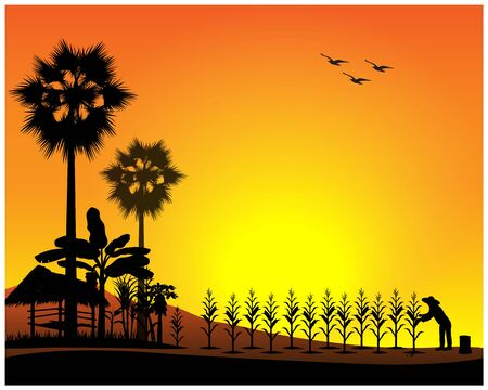 silhouette agriculturist manure corn plant vector design