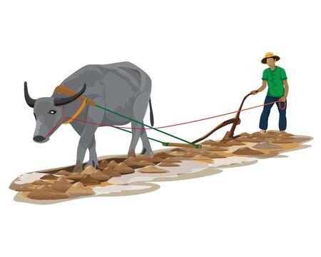 farmer plow vector design Çizim