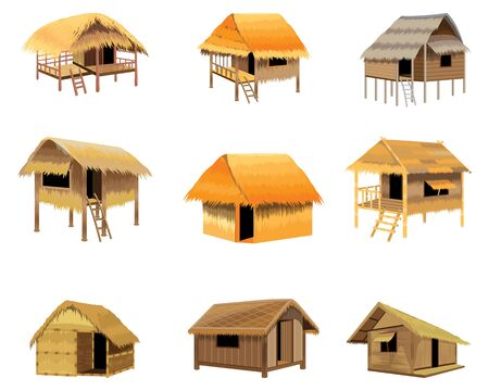 isolated straw hut on white background vector design