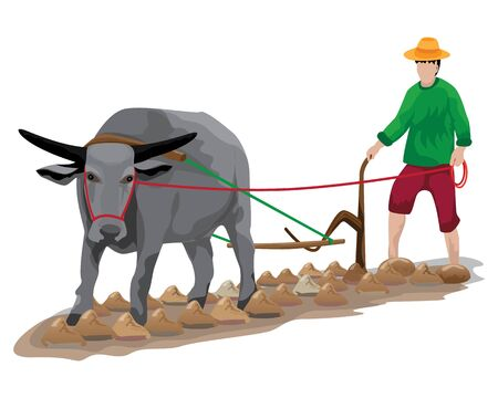 isolated farmer plow vector design Çizim