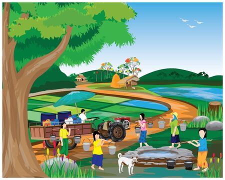 many girl harvest water from pond at countryside vector design Vecteurs