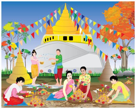people make sand pagoda in temple vector design