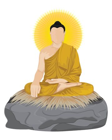 The Buddha meditated on stone vector design