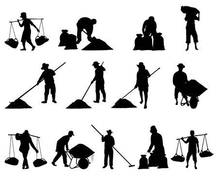 silhouette agriculturist work with salt cartoon shape vector design