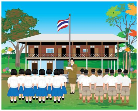 the teacher and students Respect the national flag Vecteurs