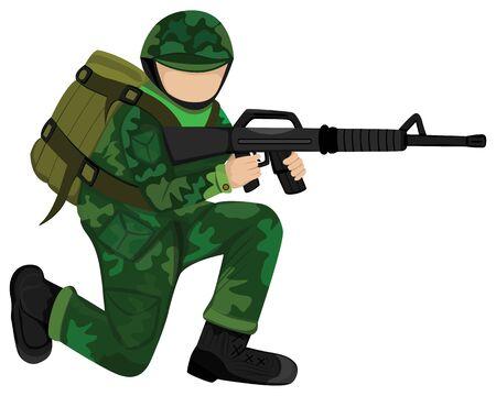 the soldier with weapon vector design Vecteurs