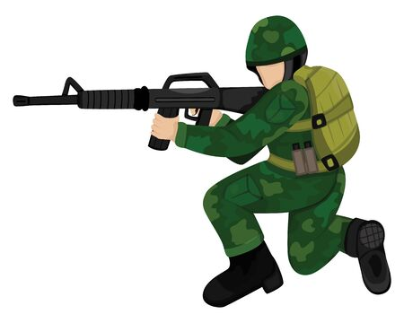 the soldier with weapon vector design Banque d'images - 145653079