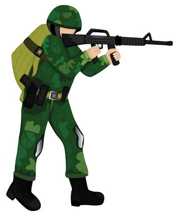 the soldier with weapon vector design