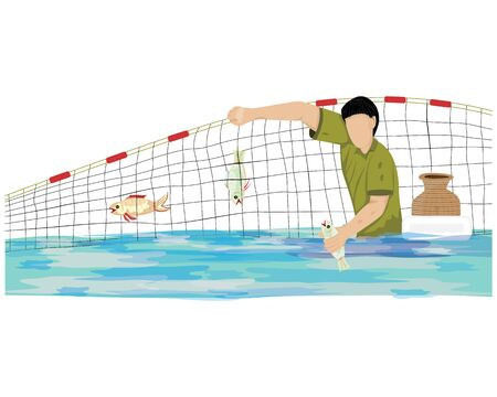 Fishermen trap fish with nets vector design