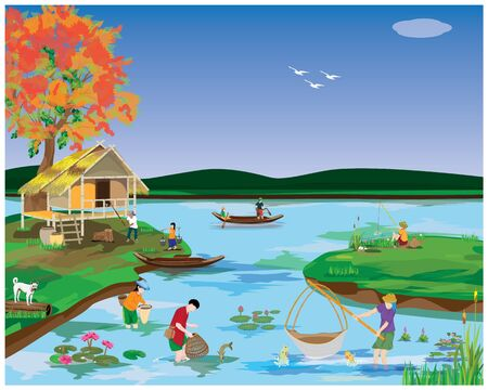 Freshwater fishermen catching fish in river vector design