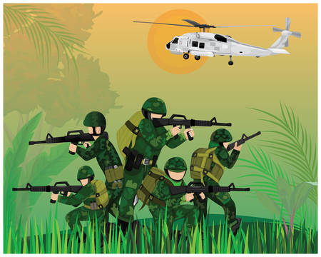 Soldiers fighting in war vector design