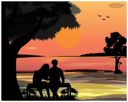 young man and woman sit on bench at the lake vector design