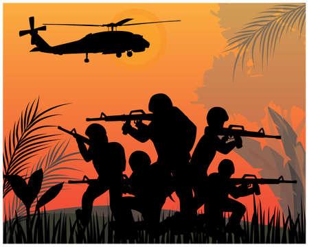 silhouette Soldiers fighting in war vector design
