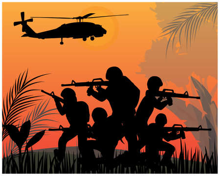 silhouette Soldiers fighting in war vector design Banque d'images - 152214235