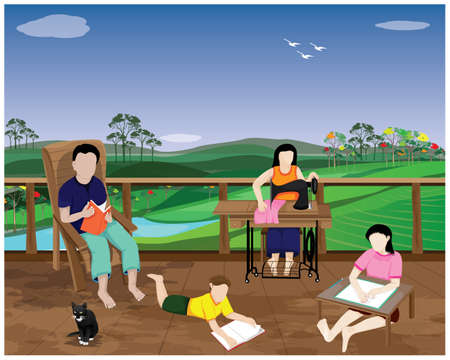 lifestyle of people at countryside,happiness family, vector design